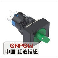 ONPOW 16mm illuminated momentary rectangular selector push button switch(LAS1-AJ-11X/2/R/12V) (Dia. 16mm)(CE,CCC,ROHS,REECH)