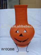 clay Holloween chimney with metal stand, fire shelf and lid
