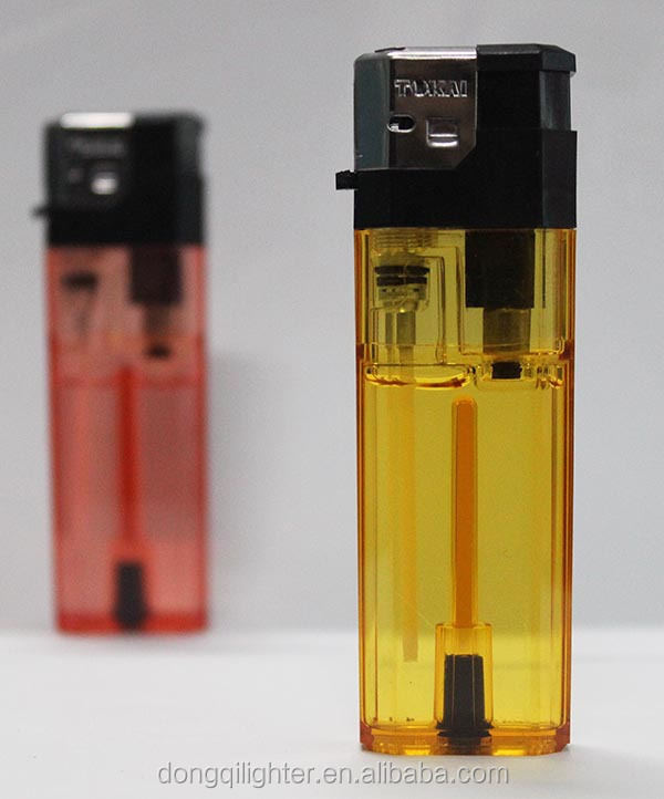 eight-angle plastic transparent refillable electronic lighter