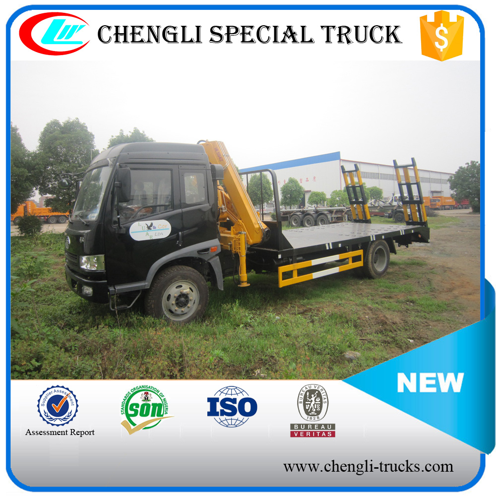 FAW 4*2 160hp 12ton Flatbed Cargo Delivery Truck with Crane
