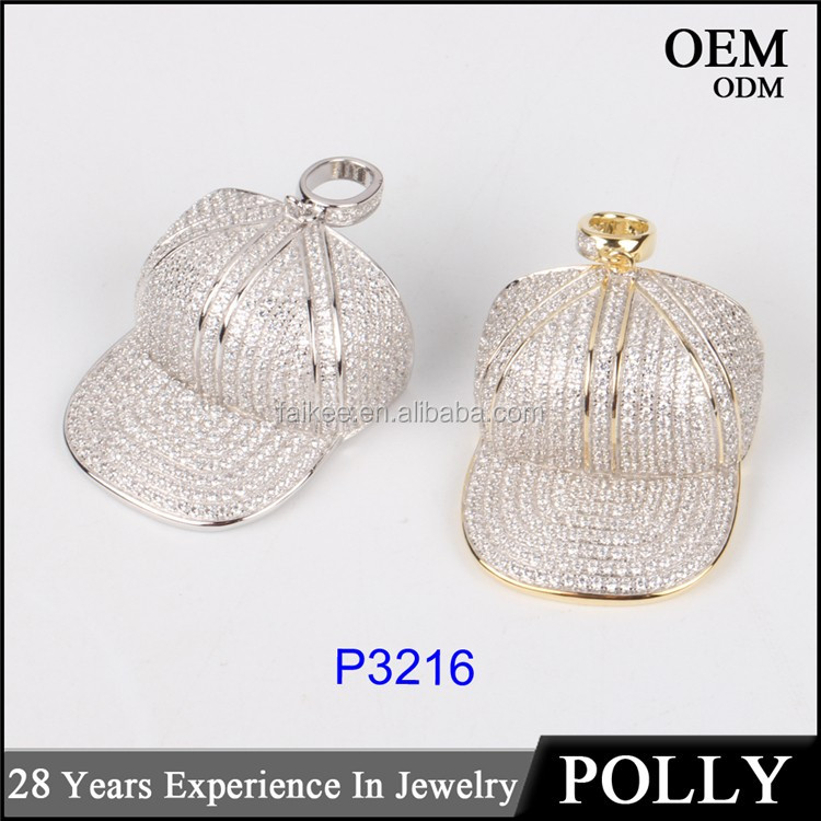 2016 Newest style silver or brass hip hop cap pendant for boy jewelry