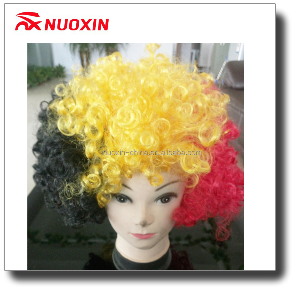 NX FLAG cheap promotion custom color team sports football fans afro wig with headband