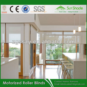 Sunscreen Fabric Motorized Electric Remote Control Auto Roller Shade Blinds For Discount Sales