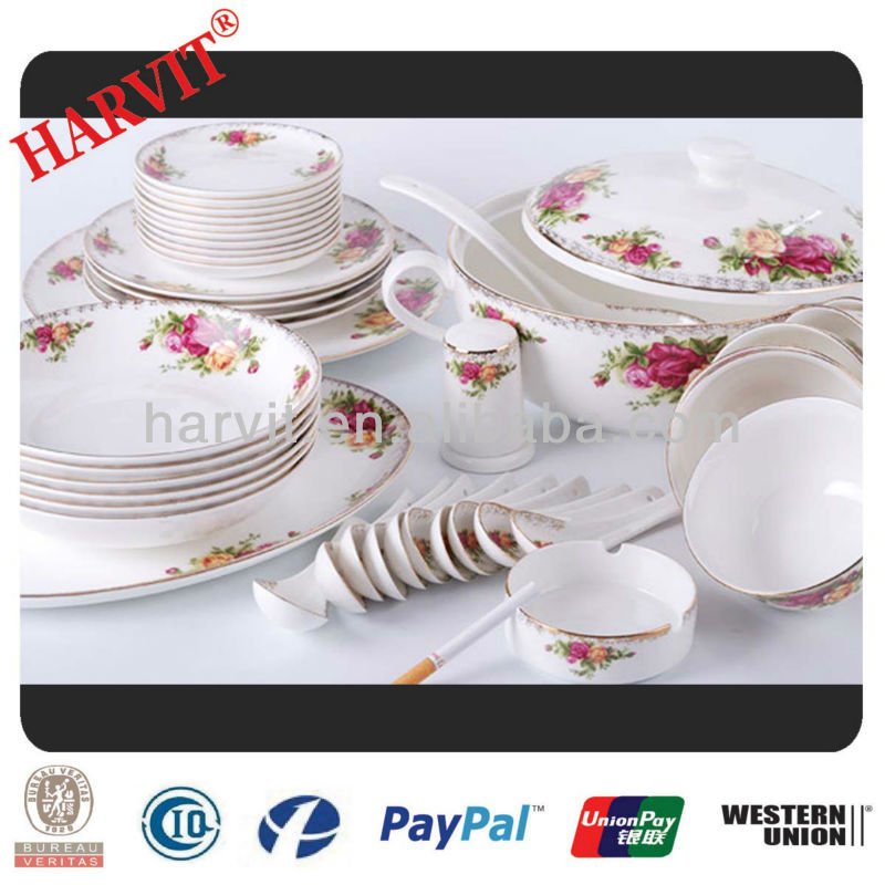 High grade royal fine bone china 42pc dinner set