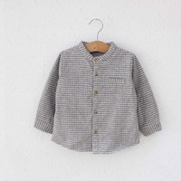 ca30010 long sleeve thick thermal striped boys fancy shirts