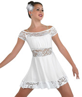 2016 - women white lyrical knee length lace amazing dress for show