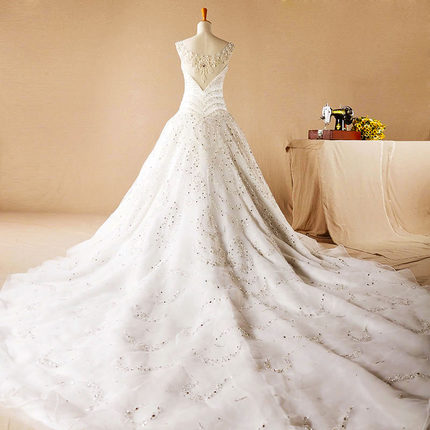AH121 Heavy beaded crystals sparkly wedding dresses arabic style arabic wedding dress in dubai ruffle luxury wedding dresses