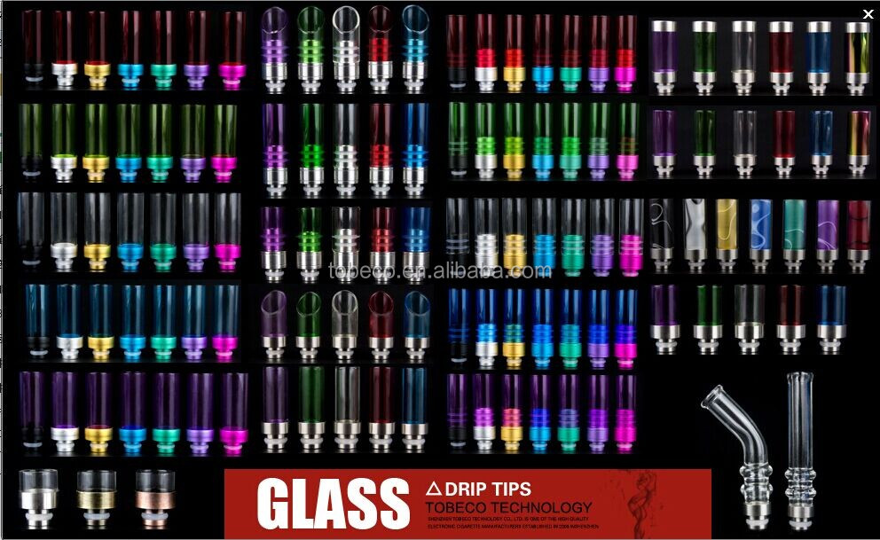 Tobeco latest thicker glass drip tips hot selling wide bore dript tips with good comments from customers