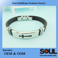 high quality Global selling natural silicon bracelet with shiny metal