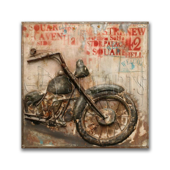 Rustic 3D Motorcycle Iron Wall Art for Home Decor