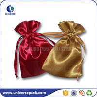 Gold &Red Drawstring satin scarf packaging bag with custom printing