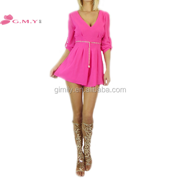 sexy summer red low cut v neck casual dress for women