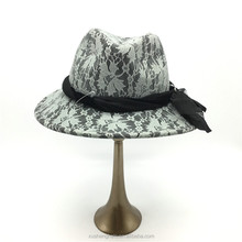 customized made cheap printing classic fedora hat for women