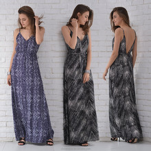 2016 New arrived Summer fashion printed maxi dress with low back, spaghetti strap dress