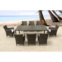 Steel Frame Garden Rattan Furniture Dinning Table Set With 8 Chairs Outdoor furniture