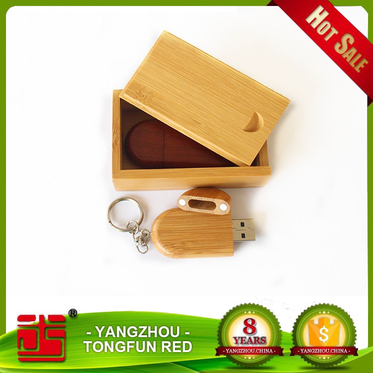 Wood Oval USB 2.0 Memory Stick <strong>Flash</strong> Drive with Wooden Box