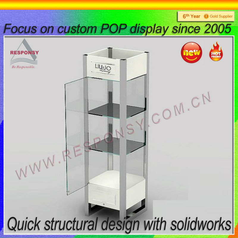 clear locking wine retail shop display cabinet