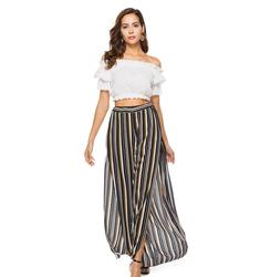 K3388A New Arrival Summer Ruffle Side Slit Stripe Pants Fashion Printed Long Pants for Women