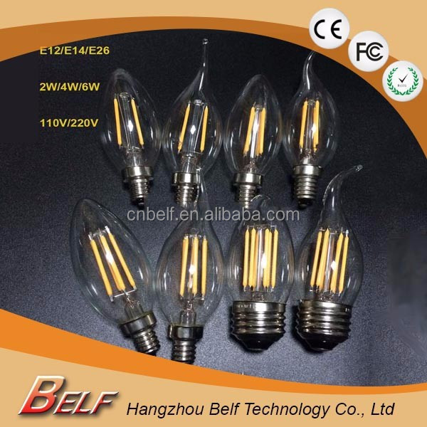 2016 hot selling filament led bulb E14 220V 110V C35 LED Filament Candle Bulbs CRI 80 360 Degree