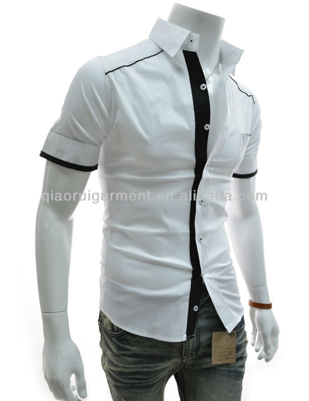 Men's White Slim Fit Stretch Cotton With Black Trim Pocket Casual ...