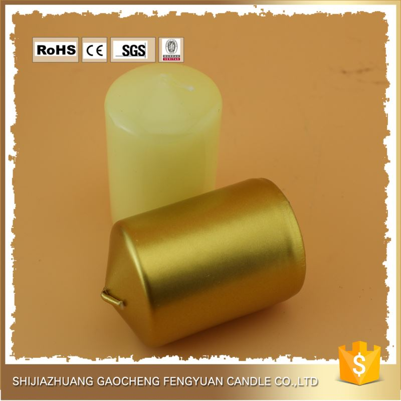 China Market colorful paraffin wax pillar candles for birthday