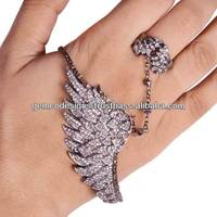 Champagne Color Diamond Studded Angel Wings Palm Bracelet with Ring, 18k Yellow Gold Designer Palm Bracelets Jewelry