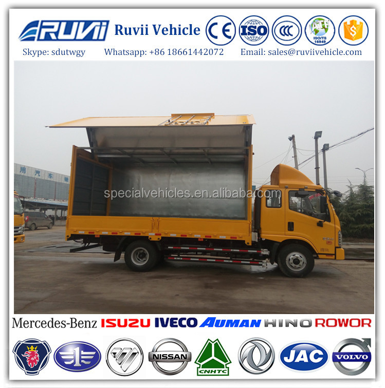 2016 new model beer transport wing body truck wing opening Box Cargo truck for sale