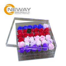 Waterproof Fresh Rose Square Gift Acrylic Flower box with Lid
