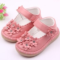 High quality anti-slip rubber sole leather toddler kids shoes for walking