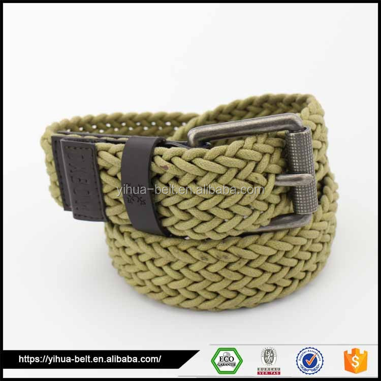 Fastion casual braided cotton rope and leather belt for men