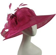 ABPF Burgundy Red Sinamay Fabric Ladies Derby Dresses Church Party Hats Wide Brim