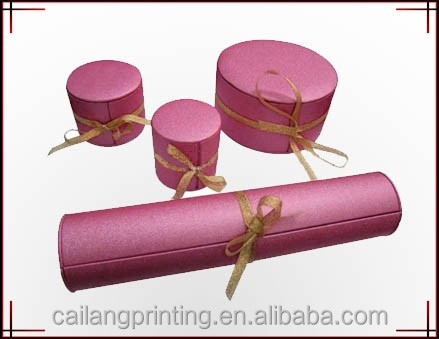 New Design Custom logo Wholesale christmas cosmetics/brownies/wine/tea gift Paper clinder container packaging with silk ribbon