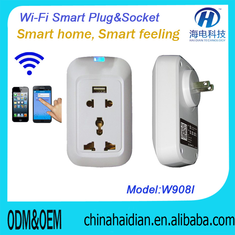 2018 Hot Sale wifi wall socket power USB socket controlled through WiFi / Internet
