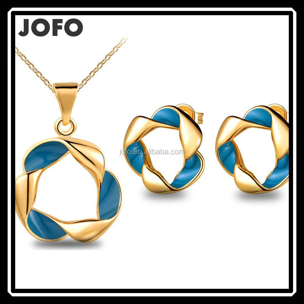 Cheap Jewelry Korean Design Blue Enamel Geometry Modern Jewelry Set Bisuteria JDJ0012