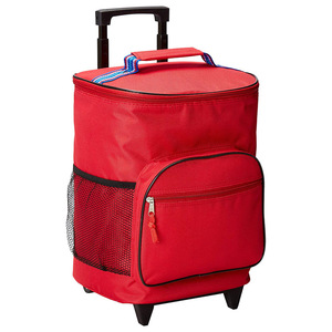 Insulated Rolling Cooler Bag 12-Bottle Wine Tote with Integrated Trolley