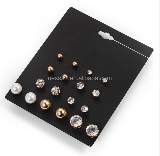 Fashion stud earring gold and silver 9 pair one card wholesales ER-001