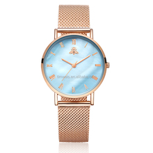 2018 rose gold mesh band trendy watches womens