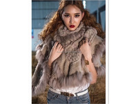 Female formal wear knitted falbala rabbit fur pashmina shawl cape with raccoon trimming