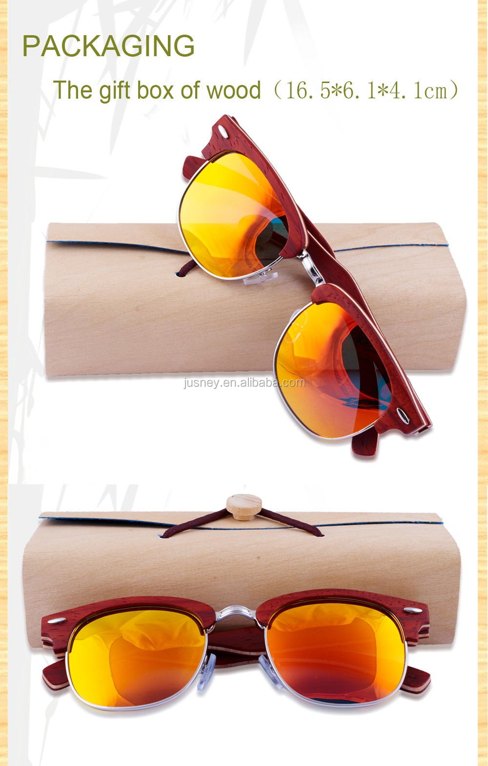 Fashionable Polarized Bamboo Sunglasses/cycling padauk zebra red Wood Sunglasses
