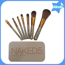 Hot selling products one alibaba aliexpress wood synthetic hair 7pcs naked 5 makeup brush set