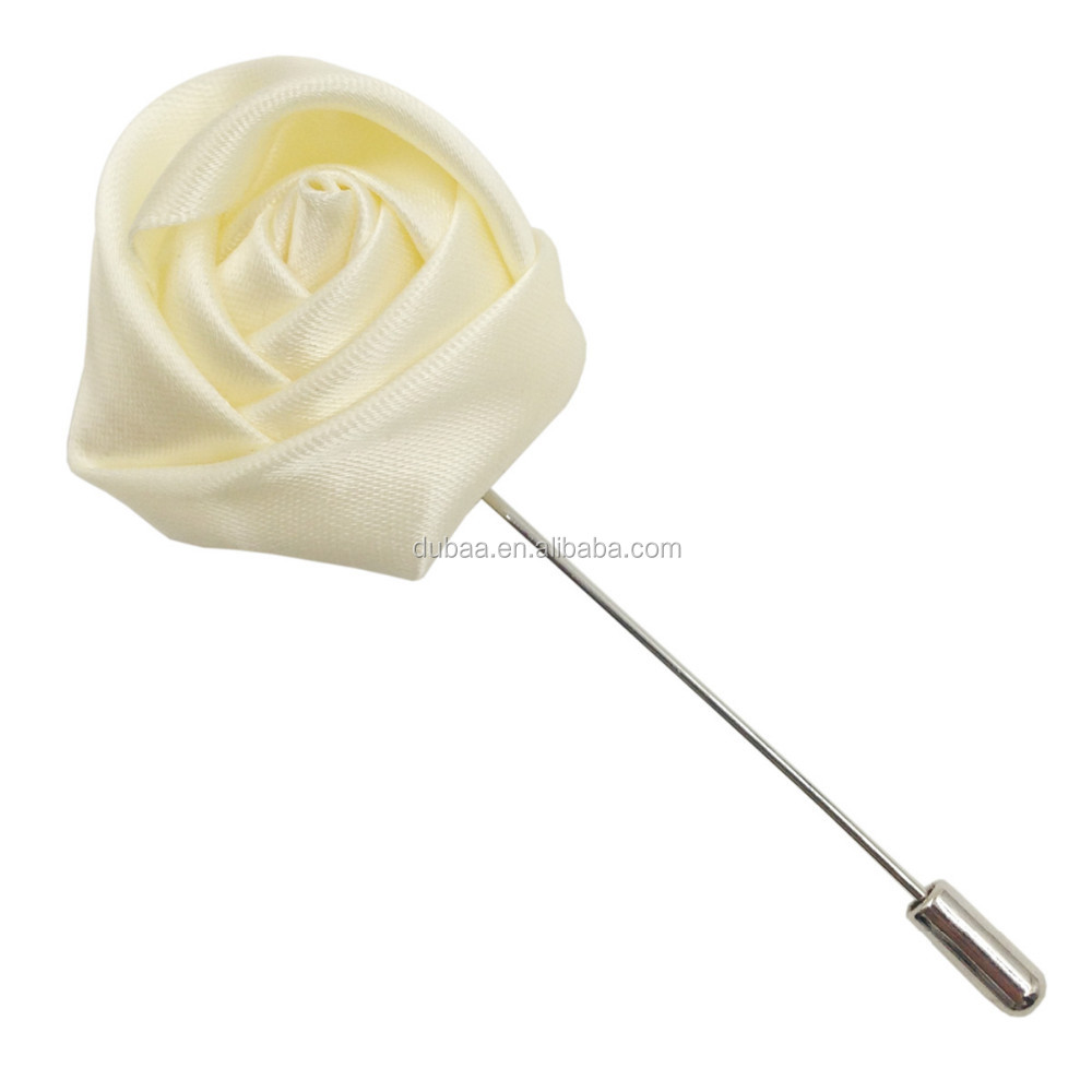 Lapel Rose Flower Handmade Boutonniere Stick Brooch Pin Corsage Wedding Multi Colors