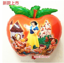 china factory 2014 hot selling new cartoon character snow white and apple shape foil mylar balloons
