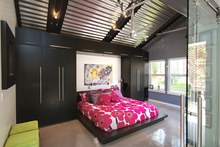 combination wardrobe and bed, double color wardrobe design furniture bedroom