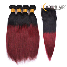 Color 1b 99j Red straight hair extensions 3 bundles copper red brazilian human hair weave with hair closure