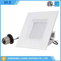 dimmable 10w 12w 16.5w square led recessed baffle downlight for indoor lighting