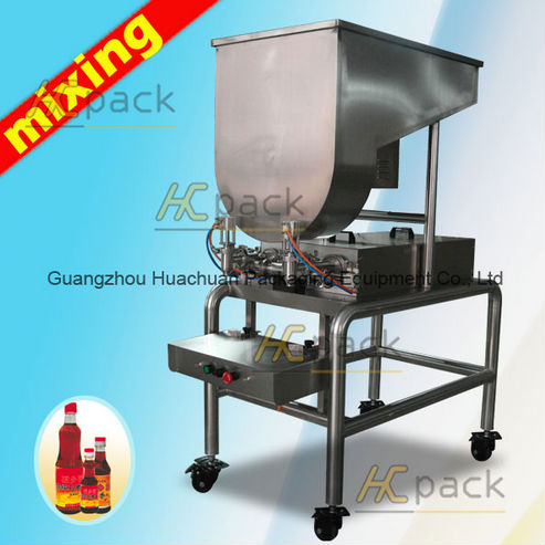 Double heads semi automatic small bottle filling machine with mixer tank