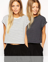 100% cotton stripe design rolled cuffs ladies cropped t shirt