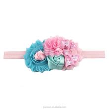 Hot Sale Children girls Hair Accessories Baby Toddler Chiffon Flower Lace Elastic Headband