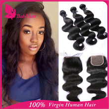 Brazilian Virgin Hair Bundles With Lace Closure Unprocessed Human Hair Weave Extension Brazilian hair closure