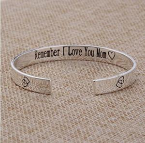 Mothers Day Gift Hand Stamped Remember I Love You Mom Forever and Always Cuff Bangle